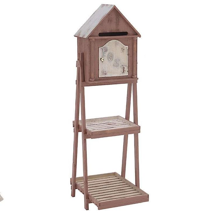 WOODEN SHELF/POST BOX IN BROWN COLOR 34X45X128