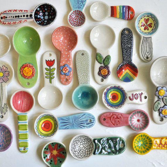 Handmade Pottery Coffee Scoop/ Spoon by chARiTyelise on Etsy