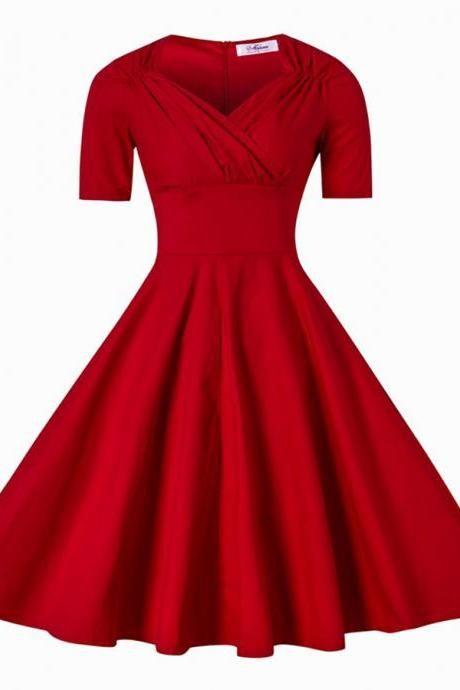Black Dress V Neck Mid Length Solid Vintage Cocktail For Women