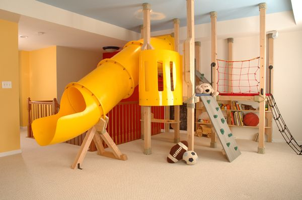 Indoor (basement) Playground. This would be great in the winter time!