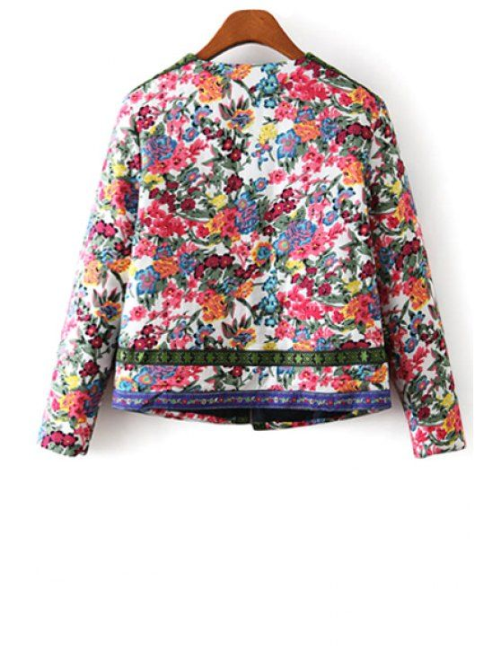 Flower Print Embroidery Jacquard Long Sleeves Jacket - COLORMIX L Mobile