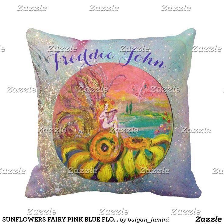 SUNFLOWERS FAIRY PINK BLUE FLORAL Boy Baby Status Throw Pillow #flowers #birth #newbaby #babystatus #decor #fantasy