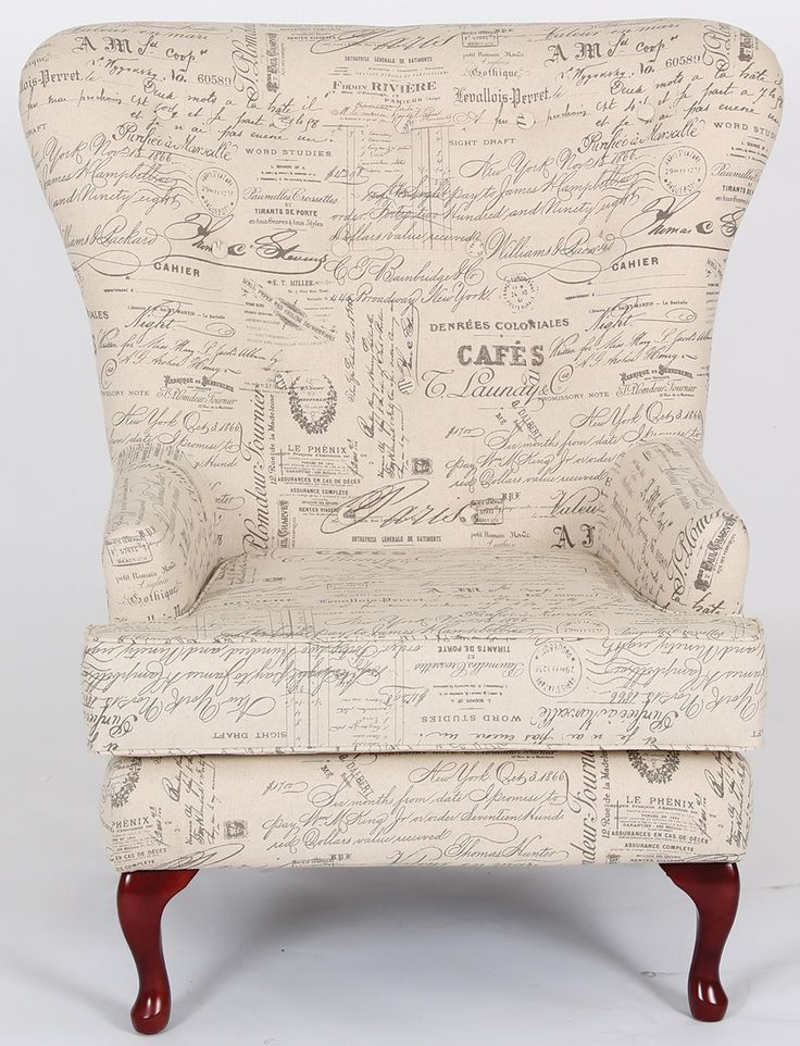 "Wing Chair seen on the hit TV Series ""Revenge""!  upholstered with french black script writing fabric. The french typography is nostalgic & romantic. The French Chic look is the perfect complement for any decor. The perfect replica of this popular design can be purchased here: http://www.dankz.com."