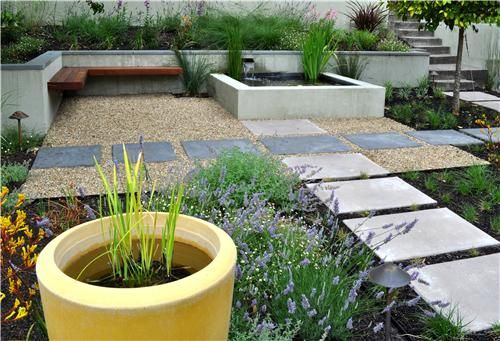 This no lawn seating area takes a fresh and modern for Area landscape architects
