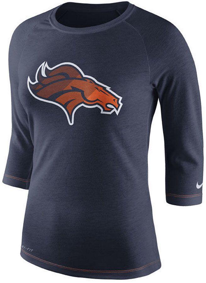 647583b1bb4882 Nike Women s Denver Broncos Logo 3 4 Sleeve T-Shirt