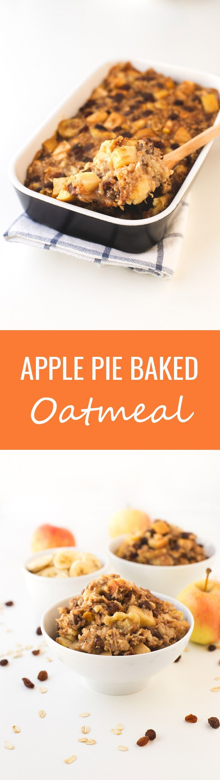 (Vegan and GF) Apple Pie Baked Oatmeal - This apple pie baked oatmeal is so easy to make, you just need to mix all the ingredients in a bowl, place them in a baking dish and bake until golden brown.