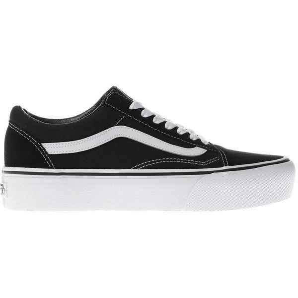Womens Black & White Vans Old Skool Platform Trainers   schuh (€68) ❤ liked on Polyvore featuring shoes, sneakers, black, white and black shoes, black and white platform sneakers, platform shoes, black white sneakers and platform sneakers
