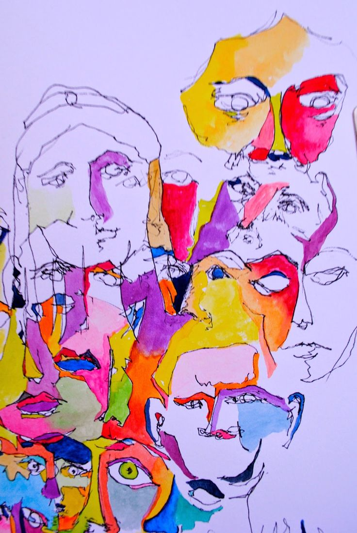 Drawing Study of Faces #1   Pen and Watercolor          Drawing Study of Faces #2    Pen and Watercolor