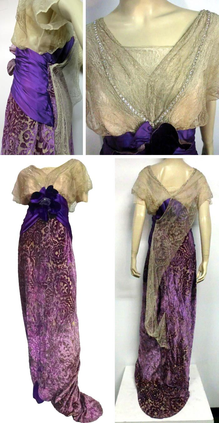 Evening gown, no date, in silk and metallic lace and lavender voided velvet. Small train, royal purple silk satin bandeau waist with silk flower at center bodice. Torso Vintages/1st Dibs