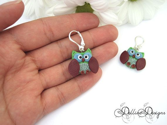 Morning Owl Earrings Handmade Polymer Clay Owl by DellineDesigns