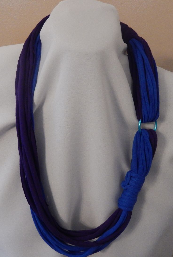 Purple and Blue T-shirt rope style scarf with blue ring.