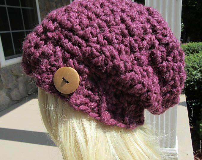Chunky Slouchy Beanie, Crochet Slouch Hat, Purple Slouchy Hat, Winter Accessory, Baby Gift, Child Photo Prop, (Adult, Toddler, Child Sizes)