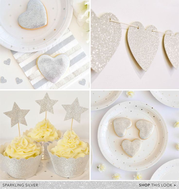 New silver dot & stripe plates, cups, napkins, glitter heart stickers, glitter wrappers, glitter cupcake toppers & glitter garlands. By Illume Partyware.