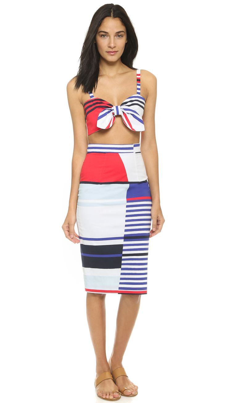 Milly Marina Stripe Bow Crop Top