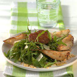 Varkensmedaillons met gebakken peer en ruccola salade