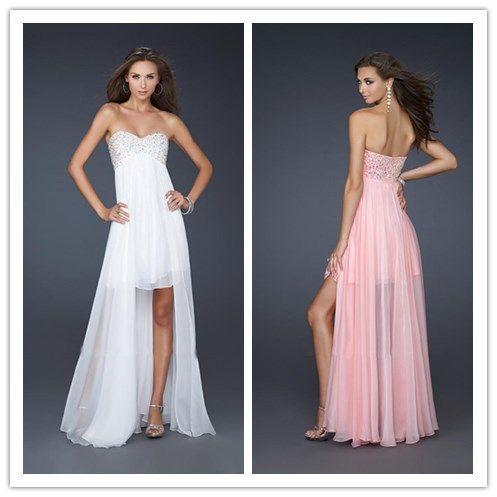 Элегантный Милая Бисером Лиф Высокий Низкий Бальные Платья Белый Розовый Светло-Серый Платья для Подружек Невесты 2016 Новое Прибытие