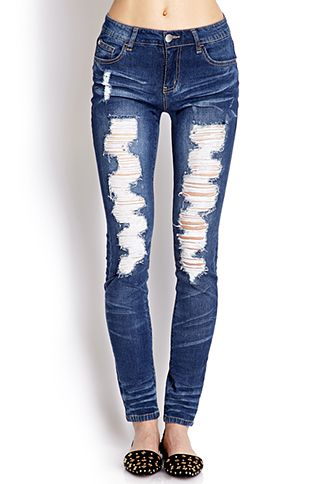 Destroyed Skinny Jeans | FOREVER21 - 2000066093 #F21Crush