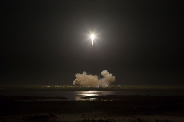 The SpaceX Falcon 9 rocket is launched at 3:44 a.m. EDT (0744 GMT) from Cape Canaveral's Complex 40 to propel the Dragon spacecraft on the first private voyage to the International Space Station.