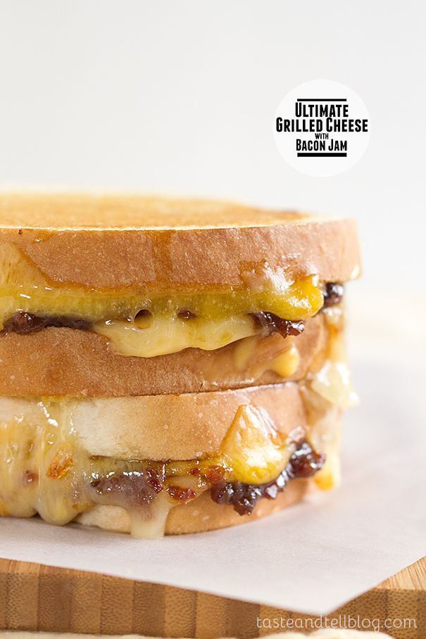 Ultimate Grilled Cheese with Bacon Jam - Three cheeses are combined with a sweet, salty and tart bacon jam for the Ultimate Grilled Cheese sandwich. On Taste and Tell