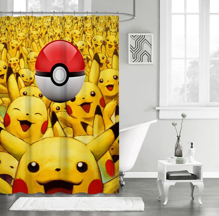 """New Pokemon Pikachu Ball Custom Shower Curtain 60"""" x 72"""" #Unbranded #Modern #Top #Trend #Limited #Edition #Famous #Cheap #New #Best #Seller #Design #Custom #Gift #Birthday #Anniversary #Friend #Graduation #Family #Hot #Limited #Elegant #Luxury #Sport #Special #Hot #Rare #Cool #Cover #Print #On #Valentine #Surprise #Shower #Curtain"""