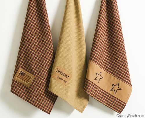 Victorian Heart Patriotic Flag Tea Towel Dishtowel Set