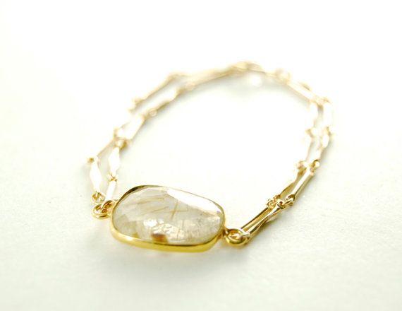 Hokuao bracelet  rutilated quartz and gold chain by kealohajewelry