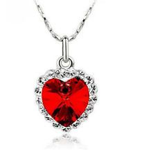 Women Silver Necklace Chain Crystal Rhinestone Heart Red Pendant Fashion Jewelry - https://barskydiamonds.com/necklaces/