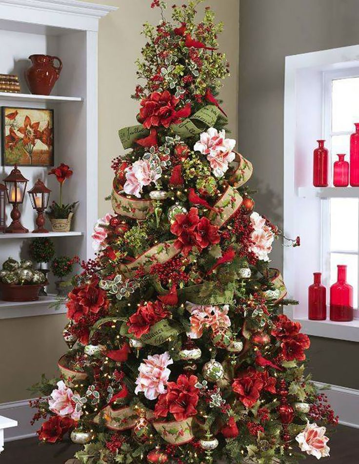 Top 10 Christmas Decoration Ideas Trends 2019 2020 Pouted Com Floral Christmas Tree Beautiful Christmas Trees Decorated Christmas Tree