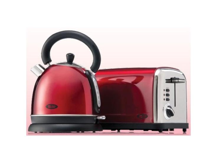 Zip Metallic Red Kettle & 2 Slice Toaster