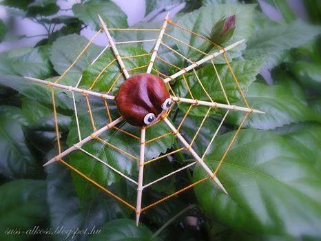 ideias giras para o Dia das Bruxas, castanha aranha