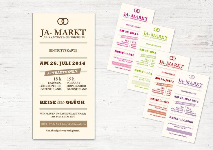 """EINLADUNG  (Eintrittskarte / Ticket) """"JA-Markt"""" von WeDo-Hochzeit auf DaWanda.com"""