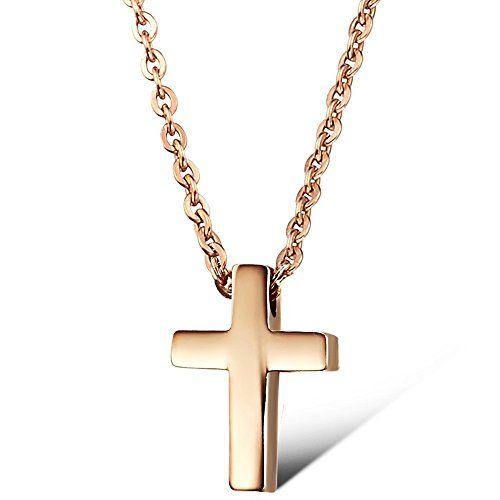 BIGSHOP Damen Halskette Edelstahl Kette mit Kreuz Anhänger Schmuck Farbe Roségold - http://schmuckhaus.online/bigshop-10/bigshop-damen-halskette-edelstahl-kette-mit-ros
