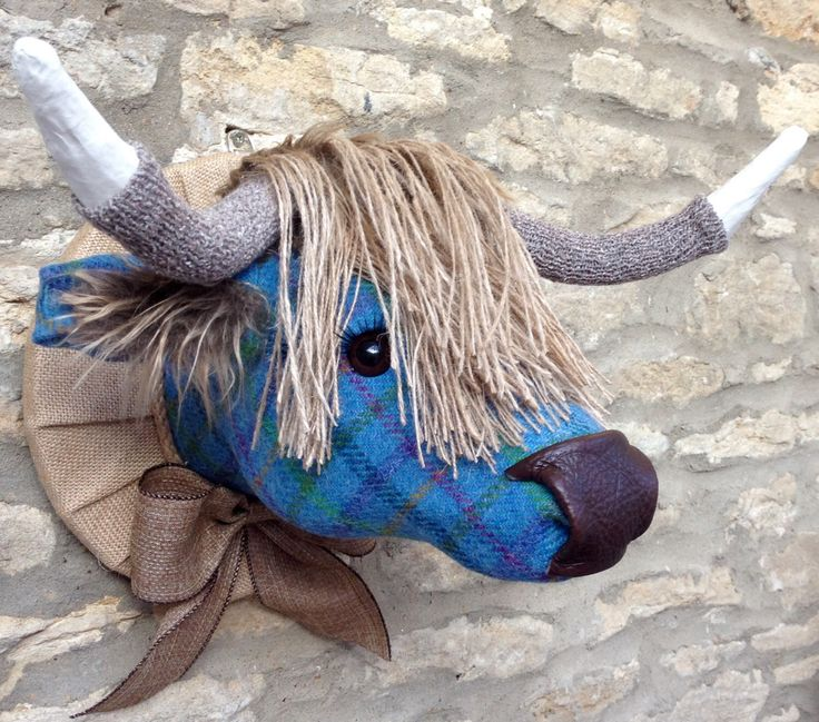 Handmade Harris tweed highland cow faux taxidermy blue teal tartan check fabric wall mounted animal head trophy by Lavendonmade on Etsy https://www.etsy.com/uk/listing/491577945/handmade-harris-tweed-highland-cow-faux