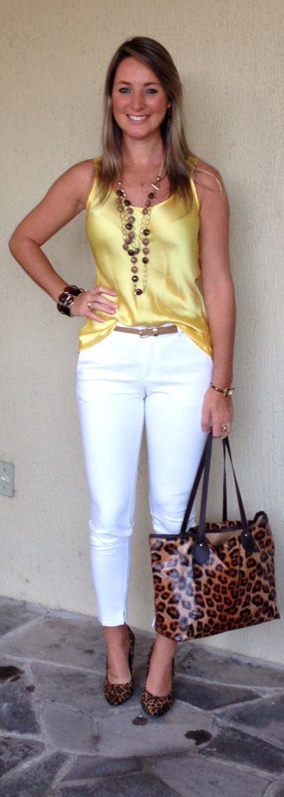 Look de trabalho - Look do dia - moda corporativa - calça branca - blusa amarela - animal print - white pant yellow top