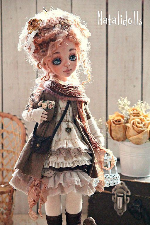 Fabric art doll / Купить Эмили - коричневый, интерьерная кукла, авторская кукла, девочка в бохо, бохо-стиль, подарок
