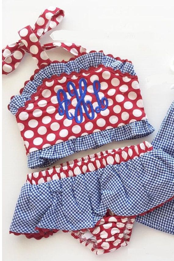 Girls Two Piece Ruffle Swimsuit by cutesoutherncotton on Etsy