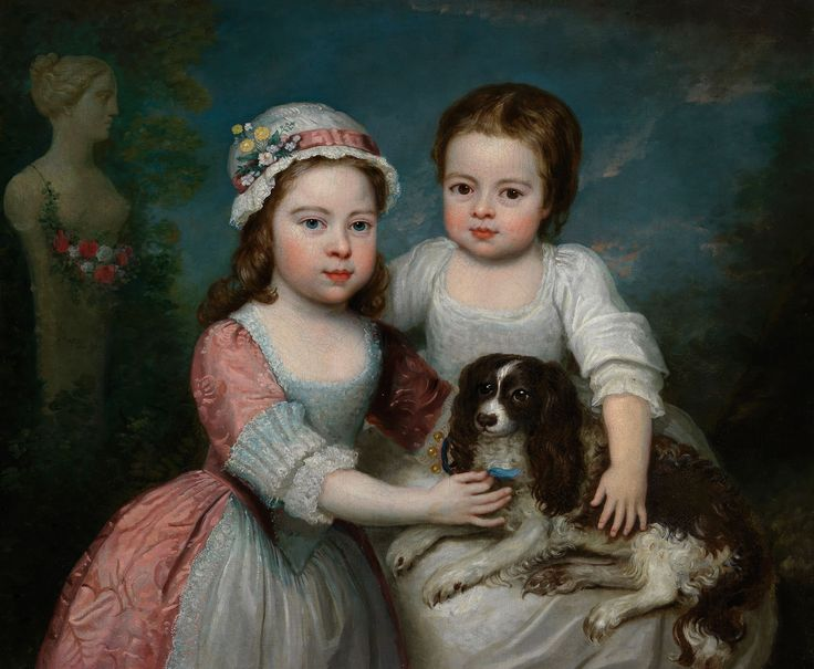 English School (Circa 1800) - Portrait of two girls and a spaniel