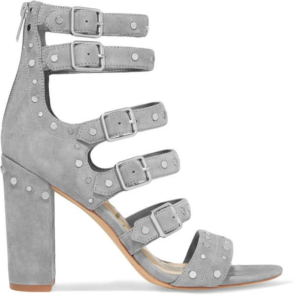 Sam Edelman York studded suede sandals (6,275 INR) ❤ liked on Polyvore featuring shoes, sandals, grey, grey suede shoes, grey strappy sandals, grey high heel sandals, high heel shoes and gray sandals