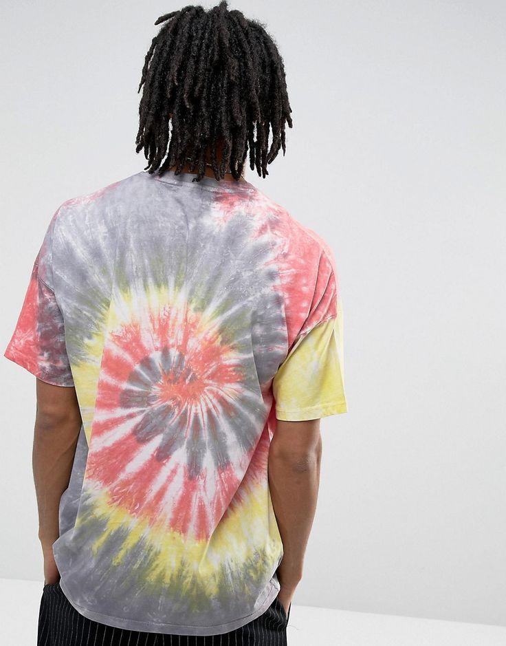 ASOS Oversized T-Shirt In Bright Spiral Tie Dye - Gray