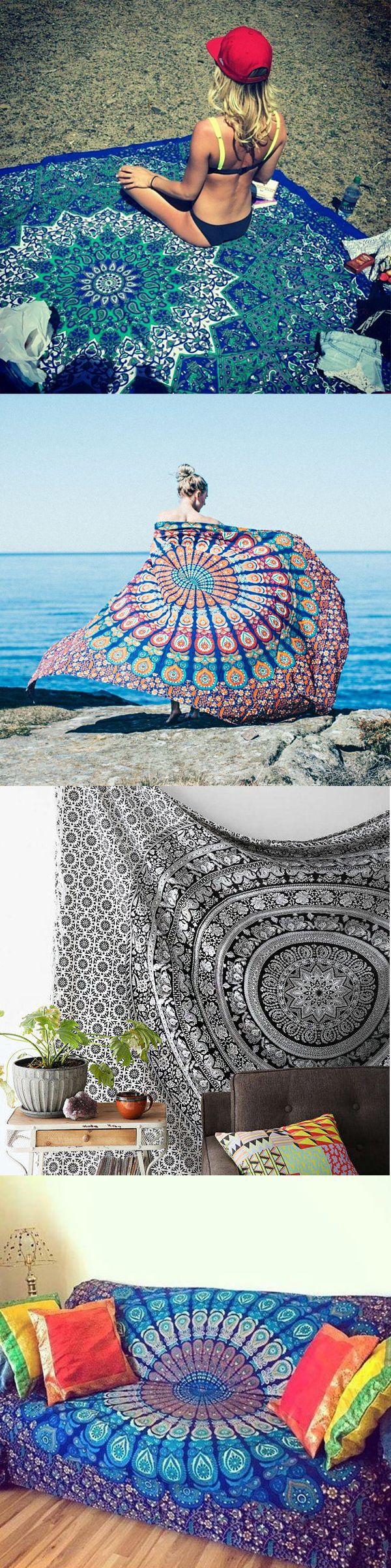$14.26 Bohemian Style Thin Chiffon Beach Yoga Towel Bed-Sheet Tapestry  beach outfits home decor diy home decor home decor ideas 