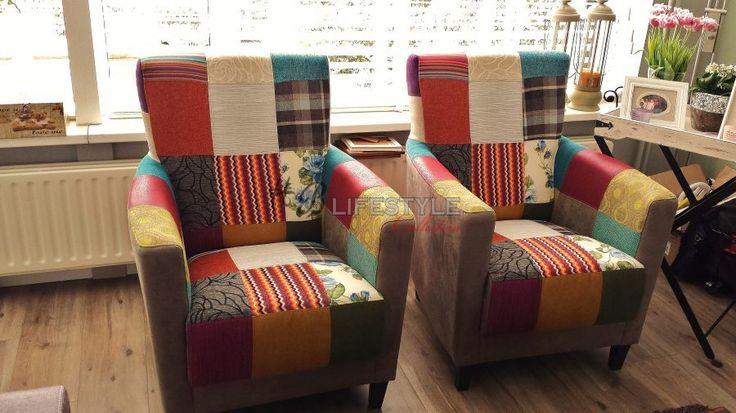 Patchwork fauteuil - HB Lifestyle Collection Model: Rio #patchwork #kleurenstoel #eigenontwerp #zitmeubel #stoelsamenstellen #quilt #interieurspecialist #kleurrijkestoel #kleurenfauteuil