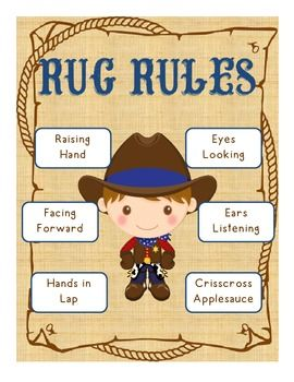 Cowboy with Western Theme rug rules