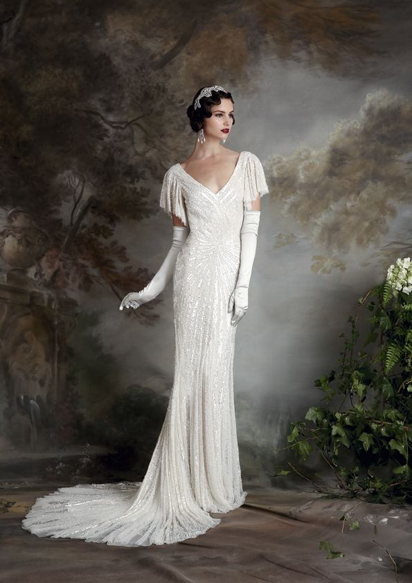 Eliza Jane Howell- Sibella. Beautiful beaded bridal gown. Available at The Tailor's Cat, Cambridge 01223 366700
