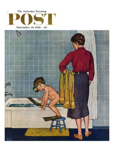 """Scuba in the Tub"" Saturday Evening Post Cover, November 29, 1958 Giclee Print by Amos Sewell at AllPosters.com"