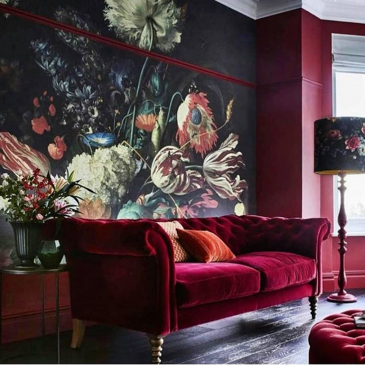 "85 Likes, 3 Comments - Oliver Thomas Interiors (@oliverthomasesq) on Instagram: """"A vase of flowers"" by De Heem from @muralswallpaper teamed with the most sumptuous berry colored…"""