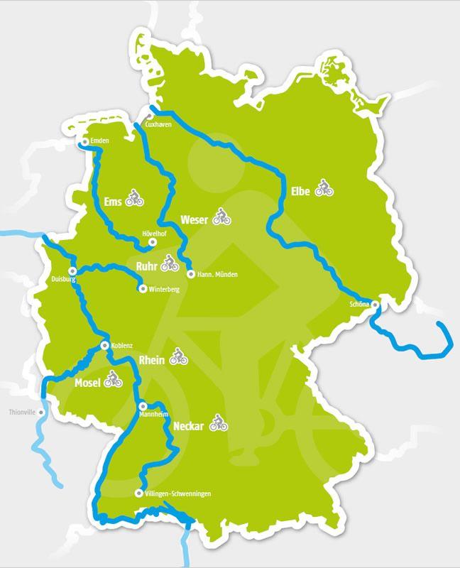 Fietsroutes langs Duitse rivieren