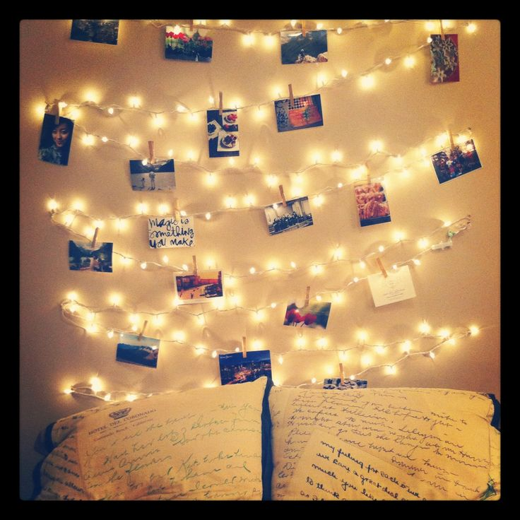 """DIY fairy light """"headboard"""", with room for some favourite photos!"""