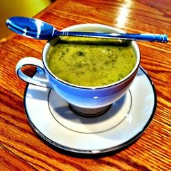Best Cream Of Broccoli and Potato Soup Allrecipes.com.  I am going to thicken with instant potato flakes to cut fat a bit.  Will not use the flour and heavy cream.  Also will use at least two potatoes.  May have to add some extra chicken broth or milk if extra potato and/or broccoli creates a need.  Serve shredded cheese on the side.