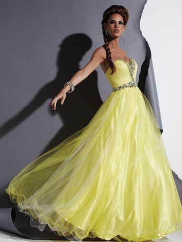 Long Neon Strapless Gown