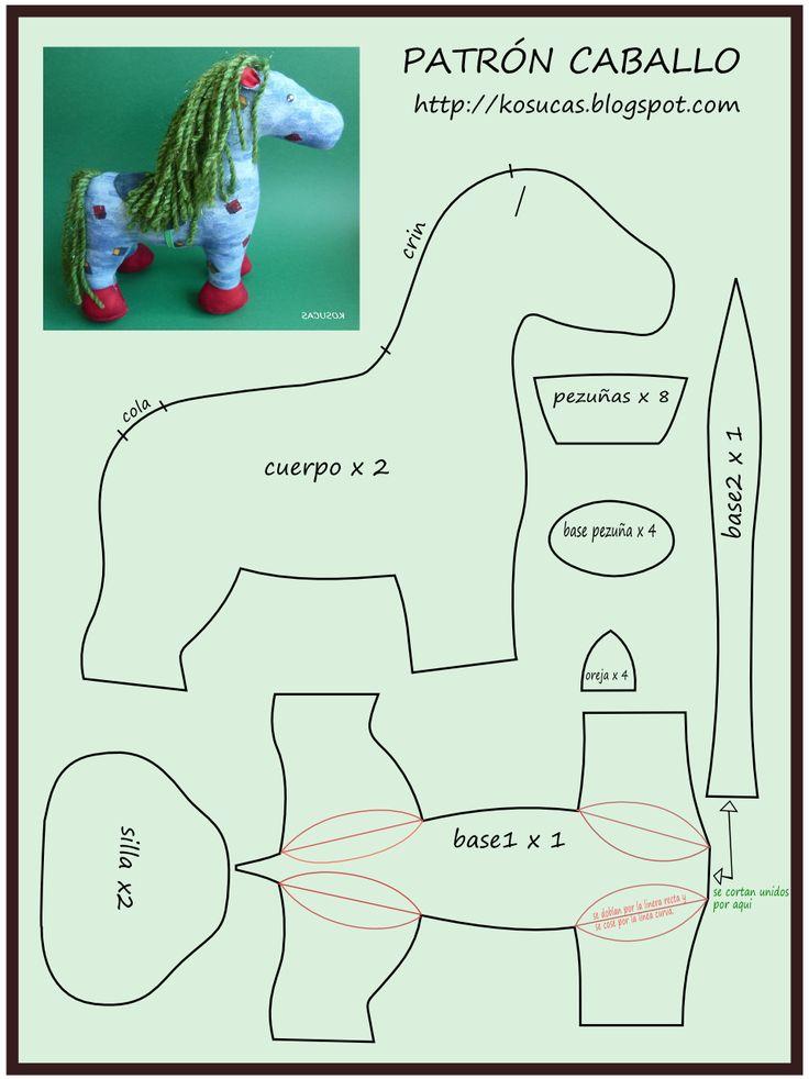 Kosucas caballo de trapo patr n y tutorial mu ecas - Patrones de cabezas de animales de tela ...